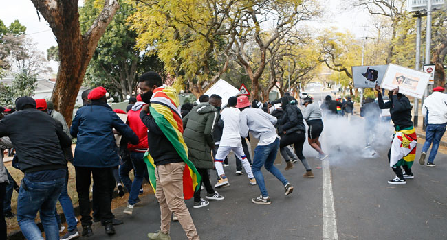 South African Police Clash With Protesters At Zimbabwe Embassy