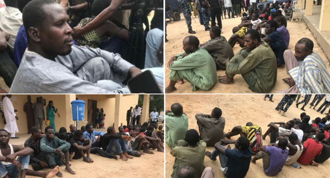 Borno Police Parade Self-Confessed Boko Haram Supplier, 44 Others