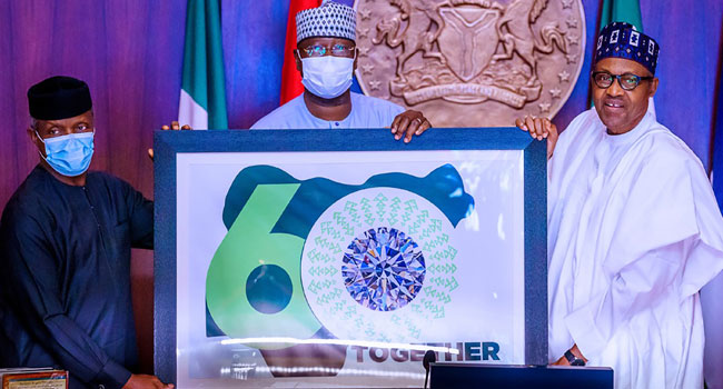 'Together Shall We Be': Buhari Unveils 'Nigeria At 60' Logo, Theme