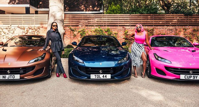 Twitter Erupts After Otedola's Daughters Flaunt New Ferraris
