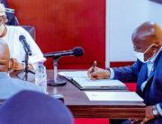 Speaker of the House of Representatives and President of Ghana, Nana Akufo Ado, discuss bilateral relations on September 3, 2020.