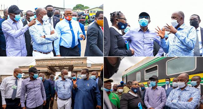 Sanwo-Olu, Amaechi Visit Site Of Train Accident In Oshodi
