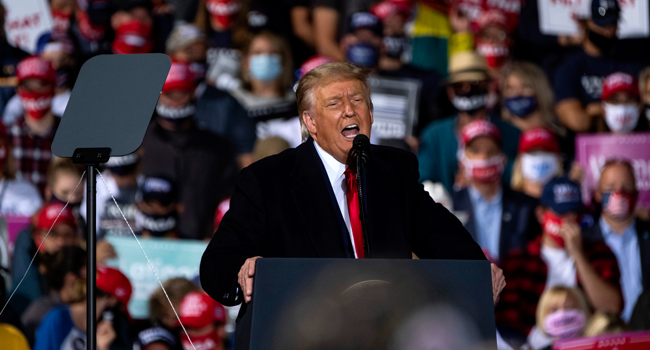 President Donald Trump speaks at a campaign rally at the Toledo Express Airport on September 21, 2020 in Swanton, Ohio. Matthew Hatcher/Getty Images/AFP
