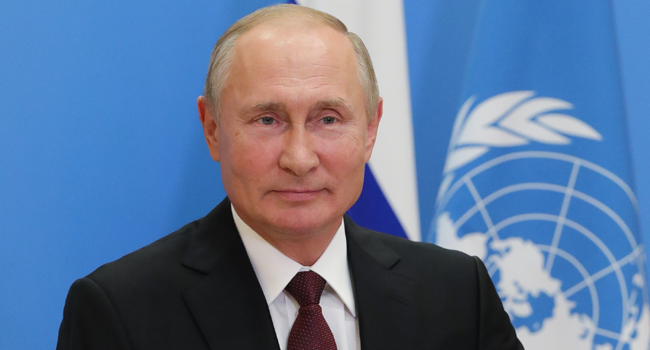 Russian President Vladimir Putin address the 75th session of the United Nations General Assembly, via teleconference call, in Moscow on September 22, 2020. Mikhail Klimentyev / Sputnik / AFP