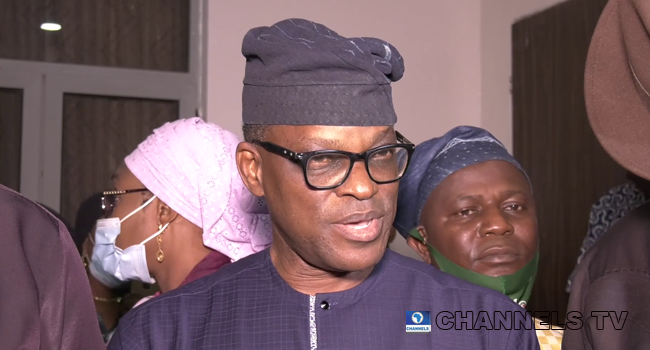 Candidate of the PDP for the 2020 Ondo Governorship election, Eyitayo Jegede, spoke to reporters on September 5, 2020.