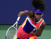 Naomi Osaka of Japan serves during her Womens Singles fourth round match against Anett Kontaveit of Estonia on Day Seven of the 2020 US Open at the USTA Billie Jean King National Tennis Center on September 6, 2020 in the Queens borough of New York City. Matthew Stockman/Getty Images/AFP