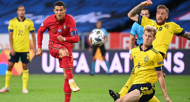 Ronaldo Scores Brace Against Sweden To Cross 100-Goal Mark