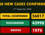 An NCDC graphic showing the nation's COVID-19 statistics as of September 11, 2020.