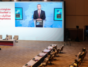 NATO Secretary General Jens Stoltenberg delivers a speech, via video call, during the opening session of the peace talks between the Afghan government and the Taliban in the Qatari capital Doha on September 12, 2020. KARIM JAAFAR / AFP