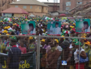 A cross-section of the crowd at the PDP flag-off rally in Akure for the Ondo governorship election on September 12, 2020.