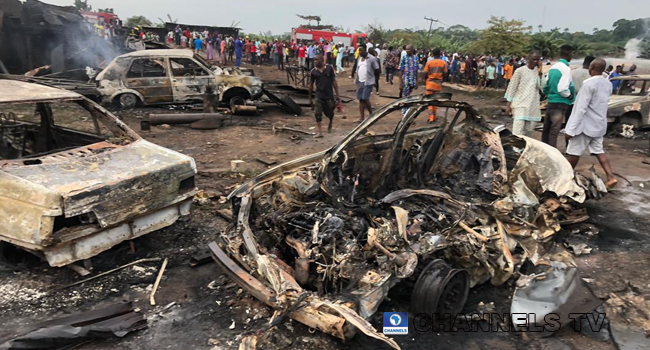Several buildings and cars were destroyed after a gas tanker exploded in Lagos on September 24, 2020.