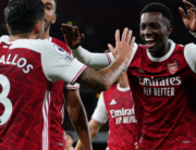 Arsenal's English striker Eddie Nketiah (R) celebrates scoring their second goal during the English Premier League football match between Arsenal and West Ham United at the Emirates Stadium in London on September 19, 2020. Will Oliver / POOL / AFP