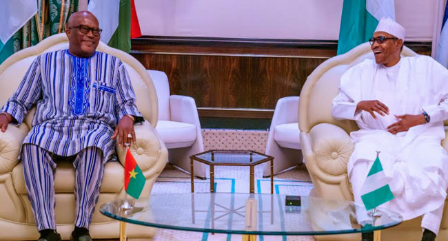 PHOTOS: Burkina Faso President Visits Buhari In Abuja