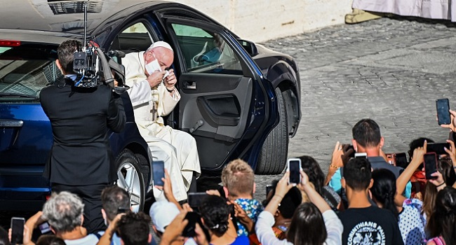Pope Francis Wears A Face Mask For The First Time In Public