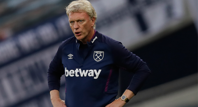 In this file photo taken on June 23, 2020 West Ham United's Scottish manager David Moyes gestures during the English Premier League football match between Tottenham Hotspur and West Ham United at Tottenham Hotspur Stadium in London. Kirsty Wigglesworth / POOL / AFP