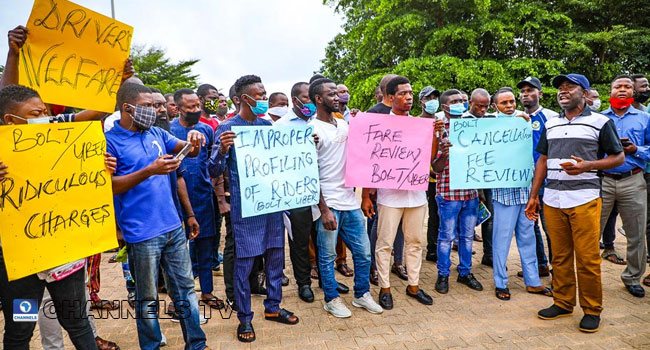 PHOTOS: Uber, Bolt Drivers Protest In Abuja