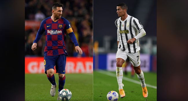 (COMBO) This combination created on October 1, 2020, shows file pictures of Barcelona's Argentine forward Lionel Messi (L) Juventus' Portuguese forward Cristiano Ronaldo. Miguel MEDINA, Josep LAGO / AFP