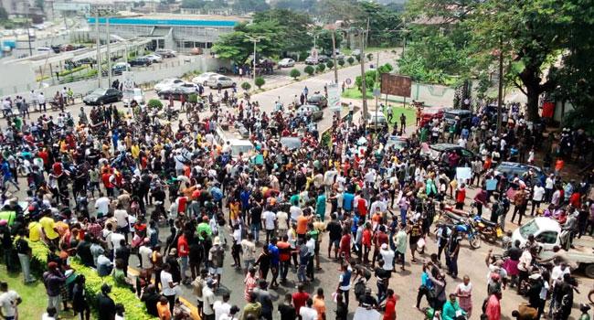 #EndSARS Protesters Storm Government Secretariat, Ibadan