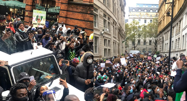 PHOTOS: Nigerian #EndSARS Protesters In The UK Call For Justice