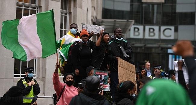 #EndSARS: Nigerians Protest In London Against Violence