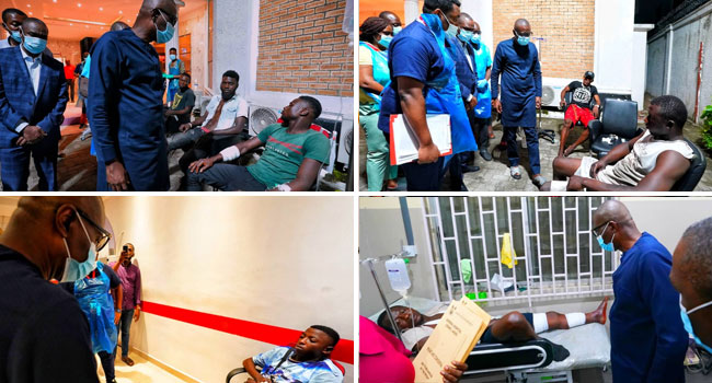 Sanwo-Olu's Visit To Injured Lekki #EndSARS Protesters In Pictures