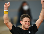 Argentina's Diego Schwartzman celebrates after winning against Austria's Dominic Thiem at the end of their men's singles quarter-final tennis match on Day 10 of The Roland Garros 2020 French Open tennis tournament in Paris on October 6, 2020. Anne-Christine POUJOULAT / AFP