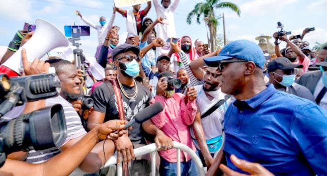 PHOTOS! #SARSMUSTEND: Sanwo-Olu Joins Protest