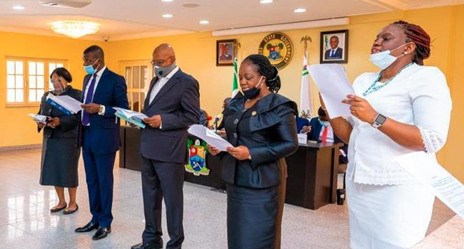 PHOTOS: Sanwo-Olu Swears-In Judicial Panel To Investigate Brutality, Rights Violation By SARS