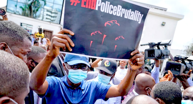 #SARSMUSTEND: Sanwo-Olu Joins Protest, Travels With Demands To See Buhari