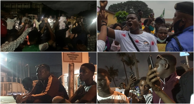 #EndSARSImmediately: Lagos Youths Protest Late Into The Night
