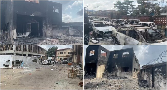 PHOTOS: Sanwo-Olu Inspects Properties Destroyed By Mobs In Lagos