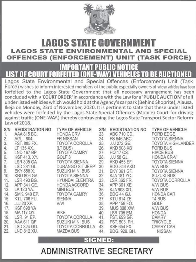 The Lagos state government said it would auction 44 cars on November 23, 2020.