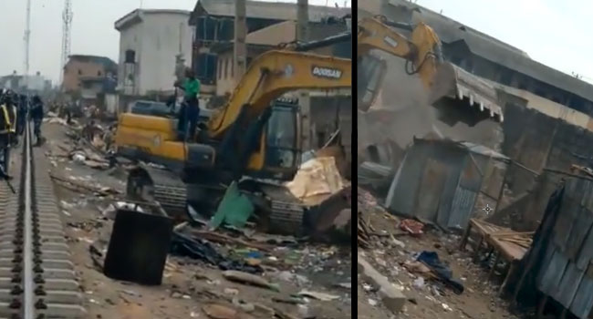 Lagos Government Demolishes Over 1,700 Shanties At Fagba Railway Lines