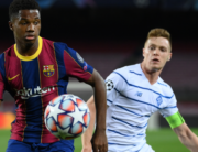 Barcelona's Spanish forward Ansu Fati (L) vies with Dynamo Kiev's Ukrainian forward Viktor Tsyhankov during the UEFA Champions League group G football match between Barcelona and Dynamo Kiev at the Camp Nou stadium in Barcelona, on November 4, 2020. LLUIS GENE / AFP