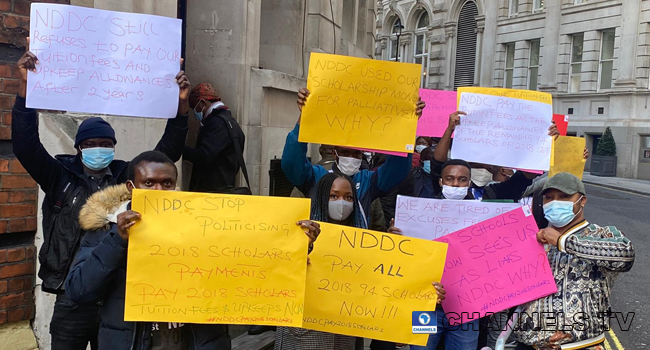 NDDC Scholars Protest Non-Payment Of Scholarship Fees At Nigerian Embassy UK