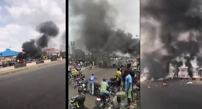 Violence Erupts As Motorcycle Riders Clash With Lagos Task Force In Oshodi