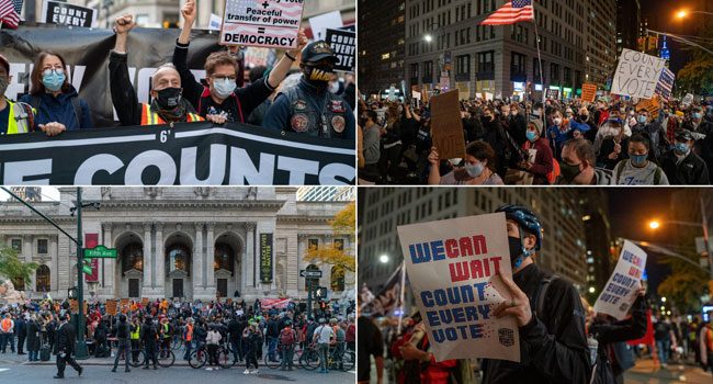 Peaceful Protests In New York As Tensions Rise In Detroit
