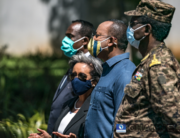 Sahle-Work Zewde (Center L), President of Ethiopia, stands next to Abiy Ahmed (Center R), Prime Minister of Ethiopia, during an event to honour the national defence forces in Addis Ababa, on November 17, 2020. EDUARDO SOTERAS / AFP