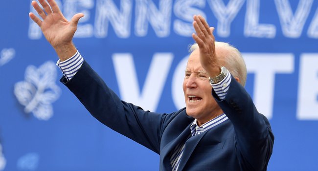 In this file photo taken on October 24, 2020, Democratic presidential candidate Joe Biden speaks at a drive-in rally on the Bucks County Community College's Lower Bucks campus in Bristol, Pennsylvania. Angela WEISS / AFP