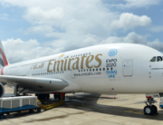 In this file photo taken on June 26, 2015 an Emirates Airbus A380 aircraft sits on the tarmac at the Bandaranaike International Airport in Katunayake. Ishara S. KODIKARA / AFP