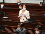 Hong Kong prominent pro-Beijing legislator Starry Lee (C) speaks during a meeting at the Legislative Council in Hong Kong on November 12, 2020, a day after pro-democracy lawmakers said they would all quit in protest at the ousting of four of their colleagues by the city's pro-Beijing authorities. Peter PARKS / AFP