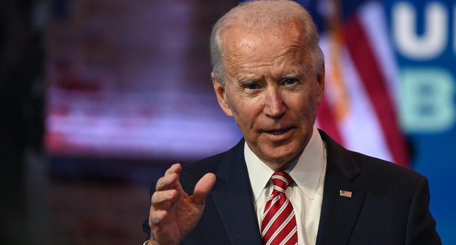 US President-elect Joe Biden answers questions from the press at The Queen in Wilmington, Delaware on November 16, 2020.   ROBERTO SCHMIDT / AFP