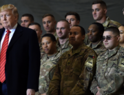 In this file photo US President Donald Trump speaks to the troops during a surprise Thanksgiving day visit at Bagram Air Field, on November 28, 2019 in Afghanistan. Olivier Douliery / AFP