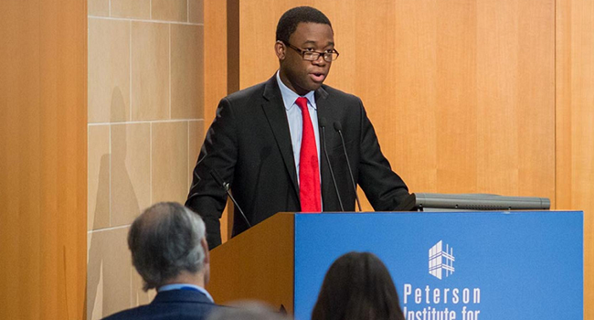"""Adewale Adeyemo giving a speech titled """"The G-7 and the Global Economy"""" at a Peterson Institute for International Economics (PIIE) event on May 19, 2016. JEREMY TRIPP/PIIE"""