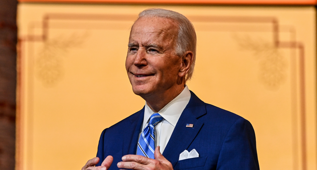 US President-elect Joe Biden delivers a Thanksgiving address at the Queen Theatre in Wilmington, Delaware, on November 25, 2020. CHANDAN KHANNA / AFP