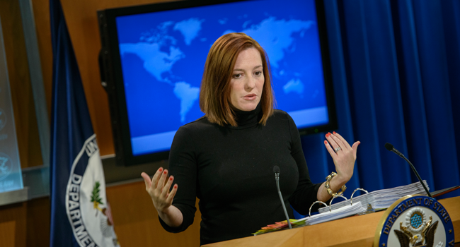 In this file photo taken on February 20, 2015 US State Department spokeswoman Jen Psaki delivers a daily briefing at the US State Department in Washington, DC. BRENDAN SMIALOWSKI / AFP