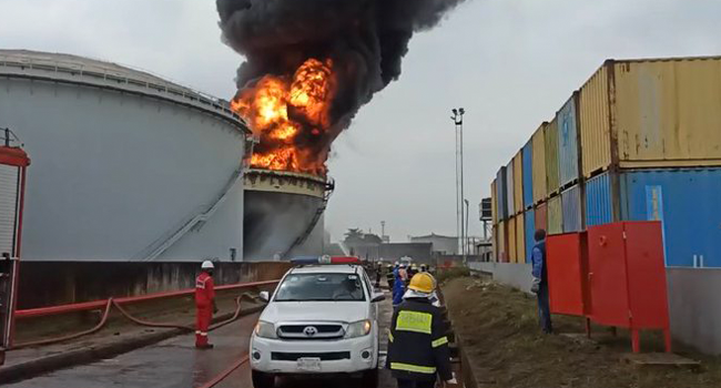 A tank farm was engulfed in flames in Lagos on November 5, 2020. Credit: LASEMA