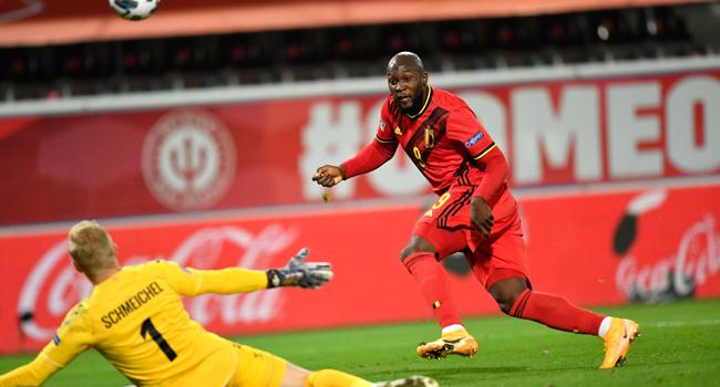 Belgium's forward Romelu Lukaku scores his team's second goal during UEFA Nations League football match between Belgium and Denmark at the Den Dreef Stadium in Leuven on November 18, 2020. JOHN THYS / AFP