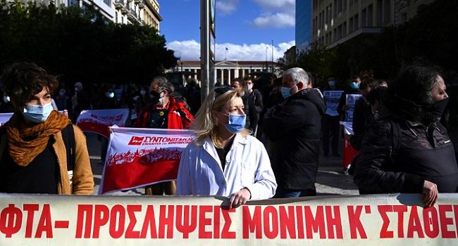 COVID-19 Protests Halt Public Transport In Athens