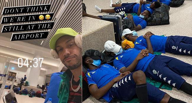 PHOTOS: Stranded Aubameyang, Gabon Teammates Sleep On Airport Floor